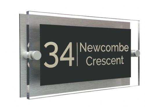 Rectangle Shape - Clear Acrylic House Sign - Anthracite Colour with Double Cream text in Font  4